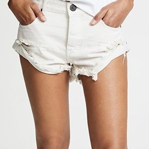 One Teaspoon Distressed Stained WhiteBandit Shorts